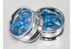 CS Model - 1/10 Blue/Chrome Wheel Set 5 Spoke 26mm (2pcs) image