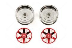 Tamiya - 6 Spoke Red 26mm Width/ Offset +4 Wheel ( 2 pcs)  image