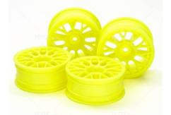 Tamiya - 24mm Fl Yellow Mesh Wheels +2 Offset (4 pcs)  image