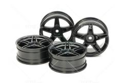 Tamiya - 24mm Black Med/Narrow Twin 5-Spoke Wheels +2 Offset (4 pcs) image