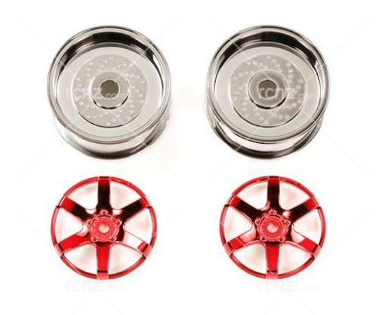 Tamiya - 6 Spoke Red 26mm Width/ Offset +6 Wheel ( 2 pcs) image
