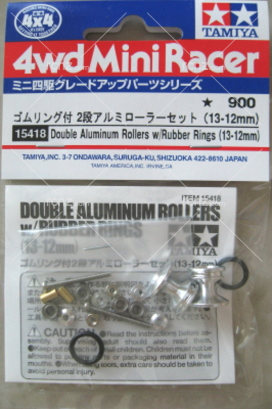 Tamiya - Mini 4WD Wide Aluminium Rollers W/Ring (13-12mm) image
